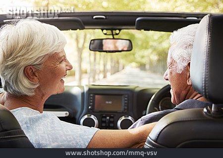 Car Trip, Convertible, Older Couple