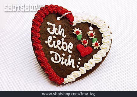 Valentine, Gingerbread Heart, Love Message