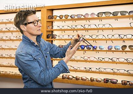 Glasses, Contemplate, Customer, Optometrist