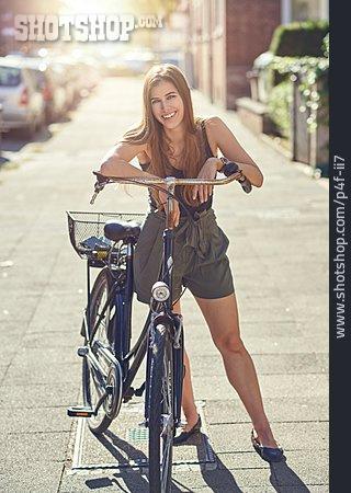 Young Woman, Urban Life, Bicycle