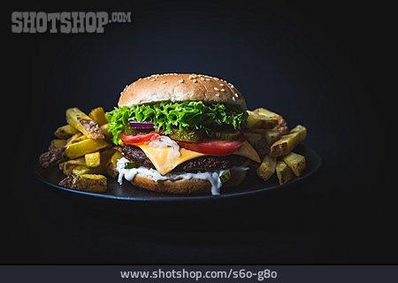 French Fries, Cheeseburger, Burger