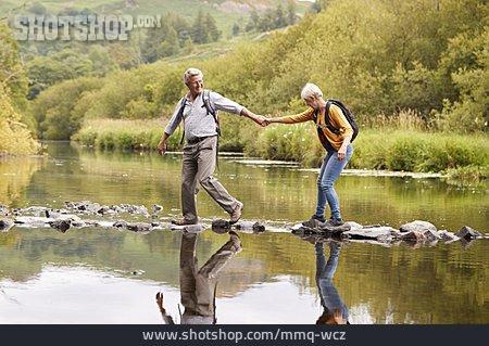 Holding Hands, Hiking, Older Couple