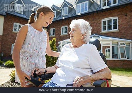 Senior, Visit, Granddaughter
