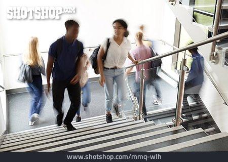 Blurred Motion, School Children, Stairway