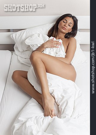 Young Woman, Comfortable, Bedding