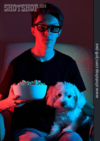 Teenager, Watching Tv, 3d Glasses