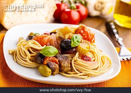 Spaghetti, Sicilian, Caponata