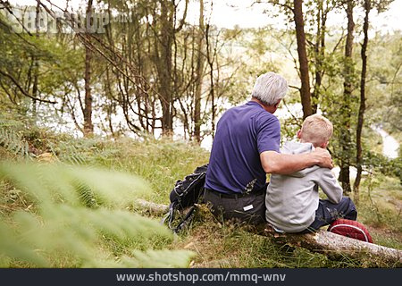 Grandson, Grandfather, Embracing, Nature