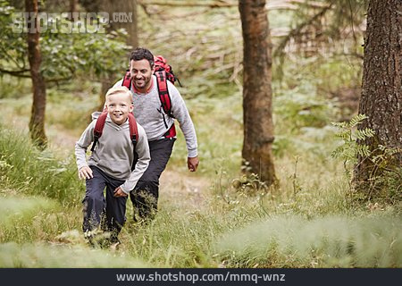 Father, Hiking, Son, Uphill
