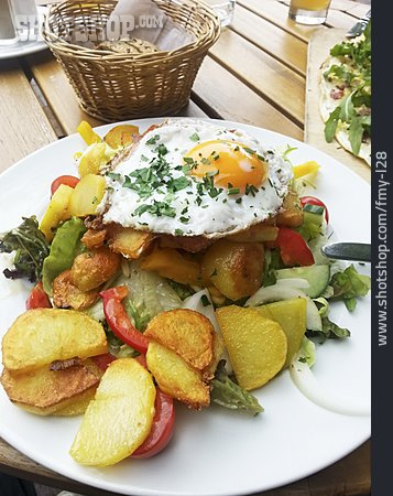 Meal, Fried Egg, Baked Potatoes