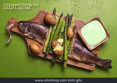 Green Asparagus, Trout, Fish Dish