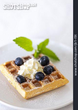 Waffle, Dessert, Belgian Waffle