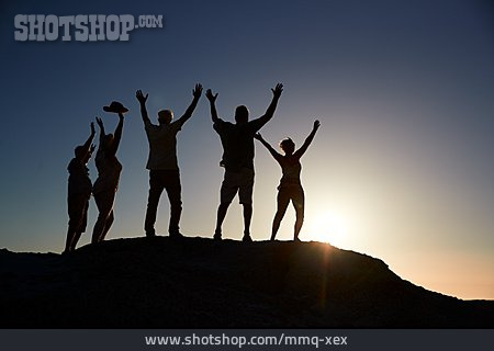 Silhouette, Evening Sun, Cheering, Arms Up