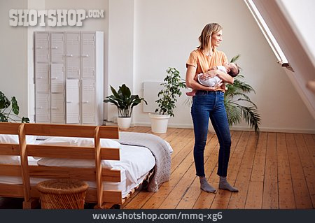 Baby, Mother, Carrying, Home