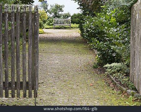 Garden, Entrance, Bench