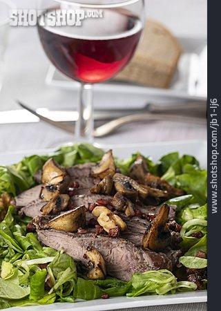 Salad, Entrecote, Meat Striped