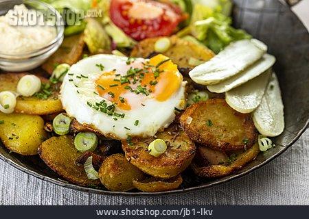 Baked Potatoes, Bacon And Potato Omelette