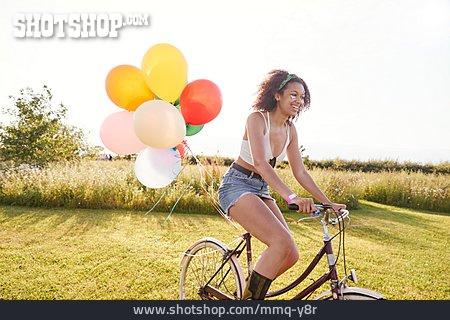 Teenager, Cycling, Balloons
