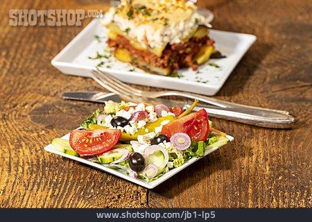 Mediterranean Cuisine, Moussaka, Feta Salad