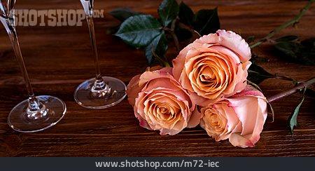 Valentine, Champagne Glass, Roses