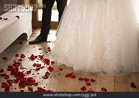 Wedding, Rose Petals, Wedding Couple