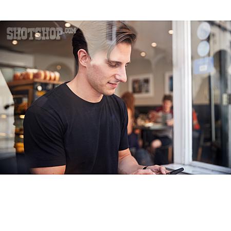 Man, Cafe, Sms