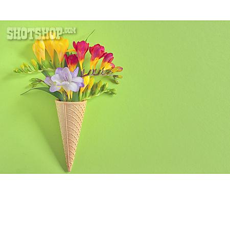 Flowers, Ice Cream Cone, Arrangement