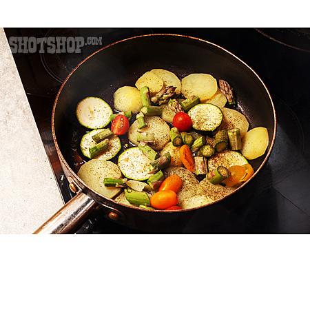 Vegetable, Frying Pan, Searing