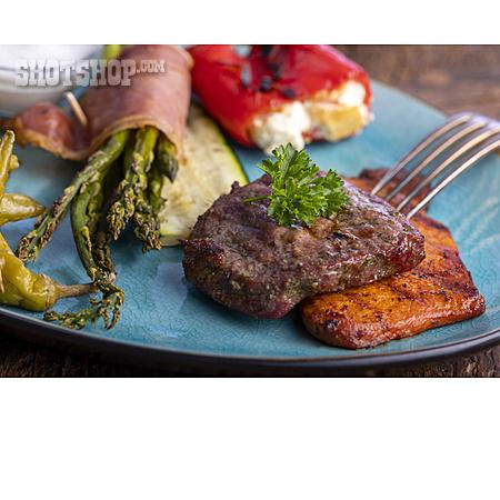 Grilled Meat, Barbeque Plate, Grilled Vegetables
