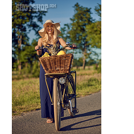 Woman, Summer, On The Move, Bicycle