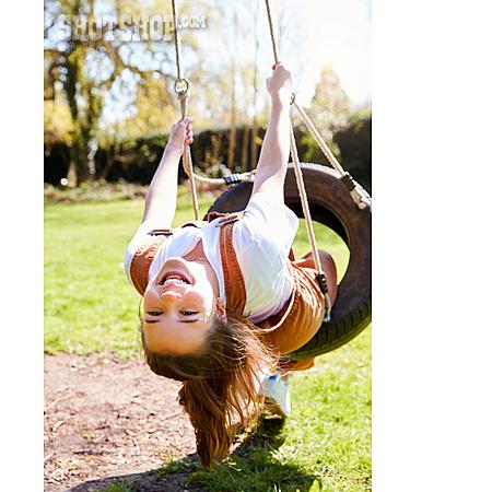 Girl, Happy, Playing, Swing