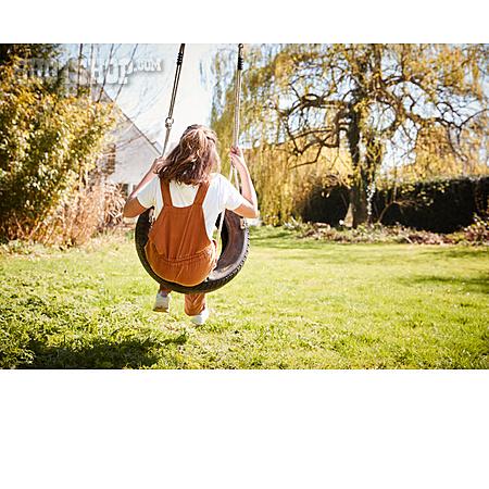 Girl, Playing, Swing