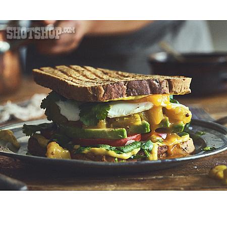 Avocado, Toast, Sandwich, Mango Chutney