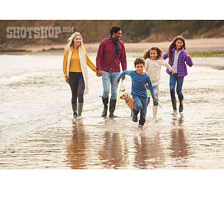 Beach Walking, Multicultural, Family Outing