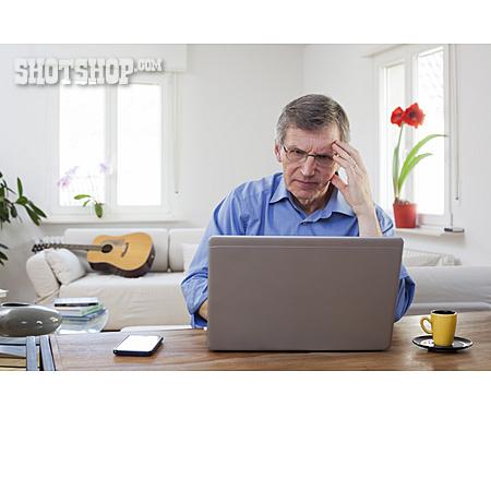Businessman, Pensive, Laptop, Online