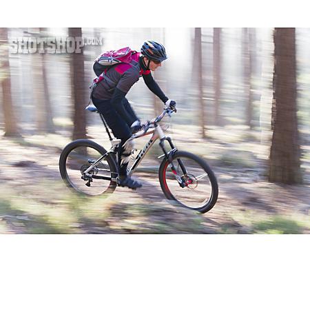 Forest, Action, Mountain Biker