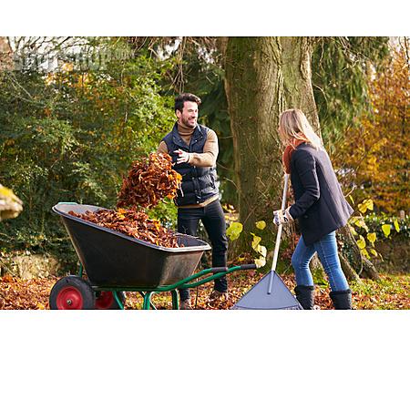 Autumn Leaves, Gardening, Couple