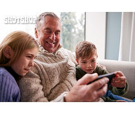 Grandfather, Home, Video Game, Grandchildren