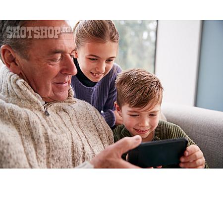 Grandfather, Home, Smart Phone, Grandchildren