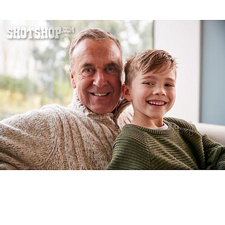 Grandson, Grandfather, Happy, Portrait