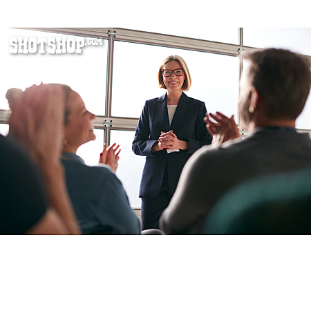 Business Woman, Self Confident, Lecture, Applauding
