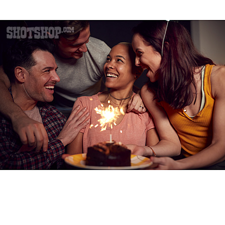 Happy, Surprise, Friends, Birthday Cake