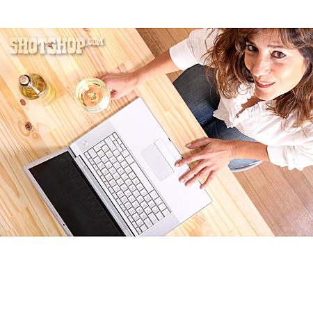 Home, Laptop, Online, White Wine