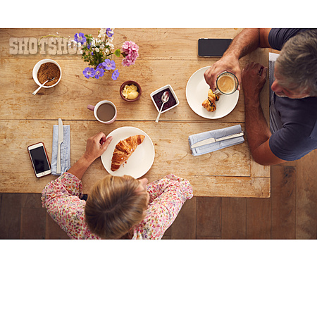 Home, Croissant, Breakfast, Couple