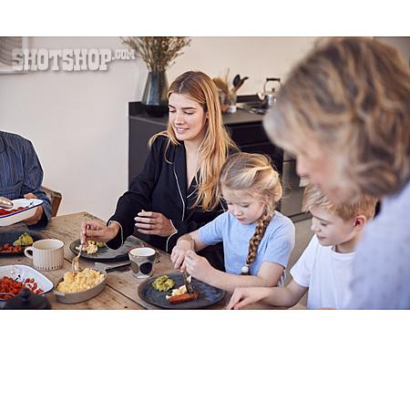 Eating, Home, Family, Grandparent, Brunch