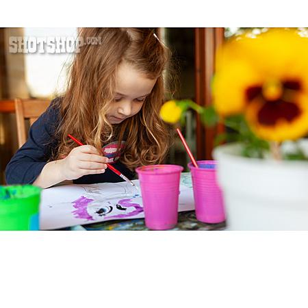 Girl, Home, Painting, Creative