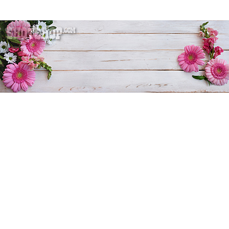 Copy Space, Flowers, Wooden Table