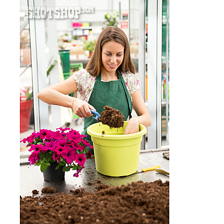 Potted Plant, Gardener, Repot