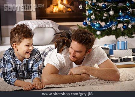 Father, Home, Dachshund, Son, Christmas Present