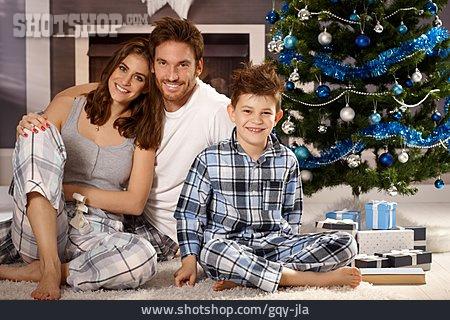 Happy, Christmas, Pajamas, Family